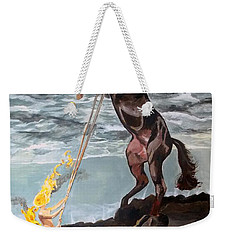 Indomitable Listen With Music Of The Description Box Weekender Tote Bag by Lazaro Hurtado