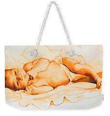 Weekender Tote Bag featuring the painting Infant Awake by Greta Corens