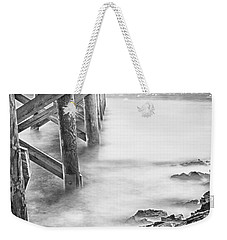 Infrared View Of Stormy Waves At Stramsky Wharf Weekender Tote Bag by Jeff Folger