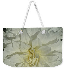 Weekender Tote Bag featuring the photograph Innocent White Dahlia  by Susan Garren
