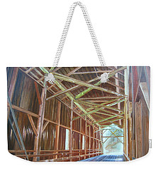 Weekender Tote Bag featuring the painting Inside Felton Covered Bridge by LaVonne Hand
