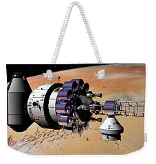 Weekender Tote Bag featuring the digital art Inspection Over Mars by David Robinson