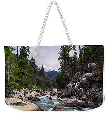Inspirational Bible Scripture Emerald Flowing River Fine Art Original Photography Weekender Tote Bag by Jerry Cowart