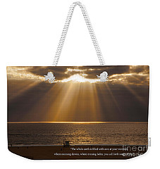 Inspirational Sun Rays Over Calm Ocean Clouds Bible Verse Photograph Weekender Tote Bag by Jerry Cowart