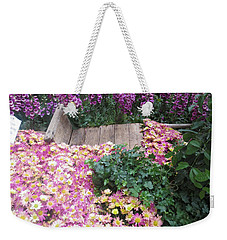 Weekender Tote Bag featuring the photograph Interior Decorations Butterfly Gardens Vegas Golden Yellow Purple Flowers by Navin Joshi