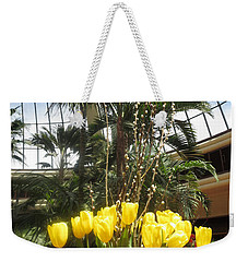 Weekender Tote Bag featuring the photograph Interior Decorations Butterfly Gardens Vegas Golden Yellow Tulip Flowers by Navin Joshi