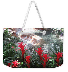 Weekender Tote Bag featuring the photograph Interior Decorations Water Fall Flowers Lights Shades by Navin Joshi