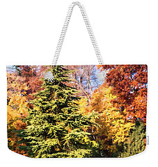 Weekender Tote Bag featuring the painting Into The Woods by Muhie Kanawati