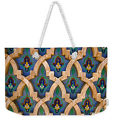 Weekender Tote Bag featuring the photograph Intricate Zelji At The Hassan II Mosque Sour Jdid Casablanca Morocco by Ralph A  Ledergerber-Photography