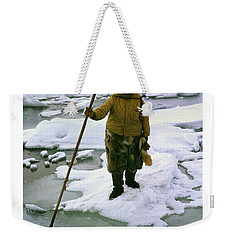 Weekender Tote Bag featuring the photograph Inuit Seal Hunter Barrow Alaska July 1969 by California Views Mr Pat Hathaway Archives