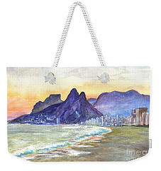 Sugarloaf Mountain And Ipanema Beach At Sunset Rio Dejaneiro  Brazil Weekender Tote Bag
