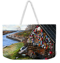 Ipswich Bay Wooden Buoys Weekender Tote Bag by Eileen Patten Oliver