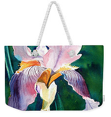 Weekender Tote Bag featuring the painting Iris 1 by Marilyn Jacobson
