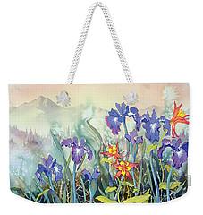 Weekender Tote Bag featuring the painting Iris And Columbine II by Teresa Ascone