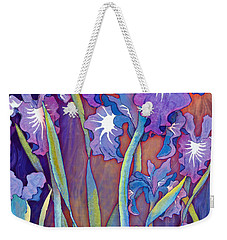 Weekender Tote Bag featuring the mixed media Iris Bouquet by Teresa Ascone