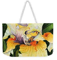 Weekender Tote Bag featuring the painting Iris Elegance by Barbara Jewell