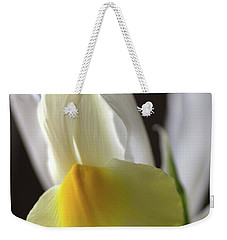 Weekender Tote Bag featuring the photograph Iris Flower by Joy Watson