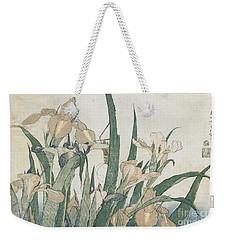 Iris Flowers And Grasshopper Weekender Tote Bag