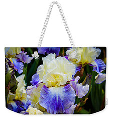 Weekender Tote Bag featuring the photograph Iris In Blue And Yellow by Patricia Babbitt
