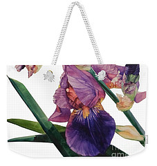 Watercolor Of A Tall Bearded Iris In A Color Rhapsody Weekender Tote Bag