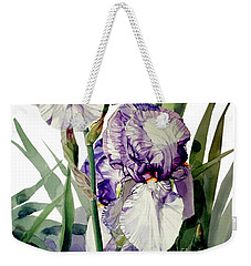 Watercolor Of A Tall Bearded Iris In Violet And White I Call Iris Selena Marie Weekender Tote Bag