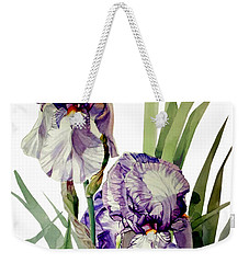 Blue-violet And White Picata Iris Selena Marie Weekender Tote Bag by Greta Corens