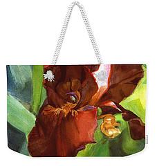 Watercolor Of A Tall Bearded Iris In Sienna Red Weekender Tote Bag