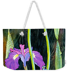 Weekender Tote Bag featuring the painting Iris Tall And Slim by Teresa Ascone