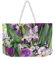 Irises In The Garden Weekender Tote Bag