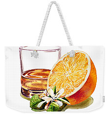 Weekender Tote Bag featuring the painting Irish Whiskey And Orange by Irina Sztukowski