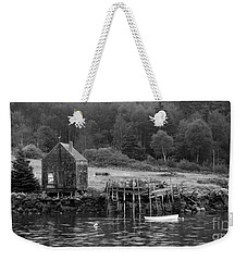 Island Shoreline In Black And White Weekender Tote Bag