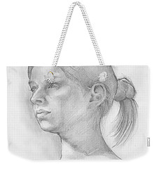 Weekender Tote Bag featuring the drawing Issabell by Paul Davenport