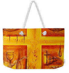 Weekender Tote Bag featuring the painting It Is Done by Jocelyn Friis