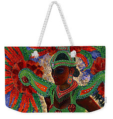Weekender Tote Bag featuring the painting It Looks Like Mardi Gras Time by Margaret Bobb
