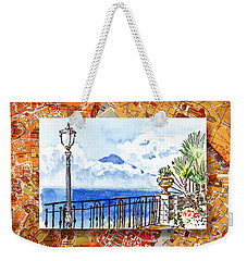 Italy Sketches Sorrento View On Volcano Vesuvius  Weekender Tote Bag