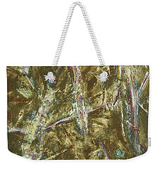 Weekender Tote Bag featuring the painting It's Crazy Out There by Mini Arora