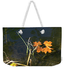 Weekender Tote Bag featuring the photograph It's Over - Leafs On Pond by Brenda Brown