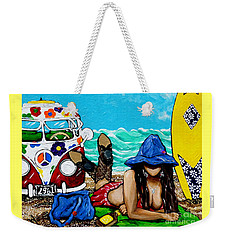 J. C. Beaching It In 1961 Weekender Tote Bag by Jackie Carpenter