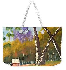 Weekender Tote Bag featuring the painting Jacaranda Tree by Pamela  Meredith