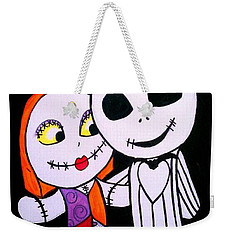 Weekender Tote Bag featuring the painting Jack And Sally by Marisela Mungia