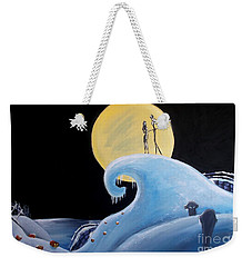 Weekender Tote Bag featuring the painting Jack And Sally Snowy Hill by Marisela Mungia
