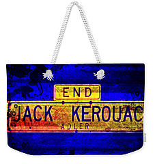 Weekender Tote Bag featuring the mixed media Jack Kerouac Alley by Michelle Dallocchio