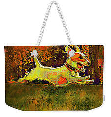 Jack Russell In Autumn Weekender Tote Bag by Jane Schnetlage