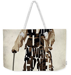 Jack Sparrow Inspired Pirates Of The Caribbean Typographic Poster Weekender Tote Bag by Ayse Deniz