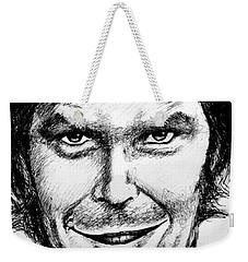 Weekender Tote Bag featuring the drawing Jack Nicholson #2 by Salman Ravish