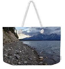 Weekender Tote Bag featuring the photograph Jackson Lake Shore With Grand Tetons by Belinda Greb