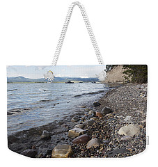 Weekender Tote Bag featuring the photograph Jackson Lake With Boats by Belinda Greb