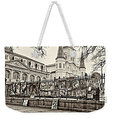 Jackson Square Winter Sepia Weekender Tote Bag