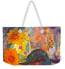 Weekender Tote Bag featuring the painting Jackson's Chameleon by Robin Maria Pedrero