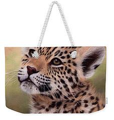 Jaguar Cub Painting Weekender Tote Bag by Rachel Stribbling